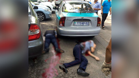 Hiện trường vụ tấn công ở đồn cảnh sát TP Almaty. Ảnh: RT
