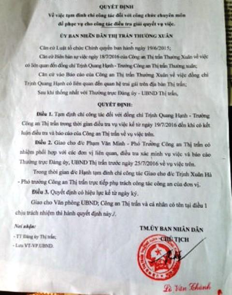 Quyết định tạm đình chỉ công tác đối với ông Trịnh Quang Hạnh, Trưởng Công an thị trấn Thường Xuân (Thanh Hóa) do có hành vi quan hệ trai gái
