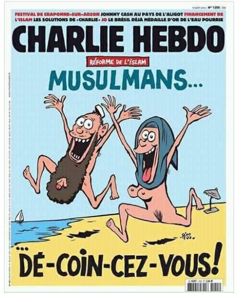 Charlie Hebdo đăng biếm họa người Hồi giáo khỏa thân. Ảnh: REDDIT