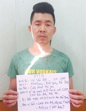 Đối tượng truy nã Vũ Văn Hợi khi bị bắt giữ