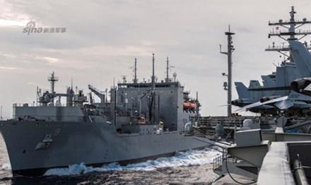 Đội tàu sân bay USS Ronald Reagan hoạt động trên biển Đông ngày 5-7-2016. Ảnh: Sina.
