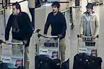 Cả ba nghi phạm trong vụ tấn công tại sân bay Brussels đều có tên trong danh sách khủng bố của Mỹ. Hiện tên áo trắng đang chạy trốn. Ảnh: CCTV