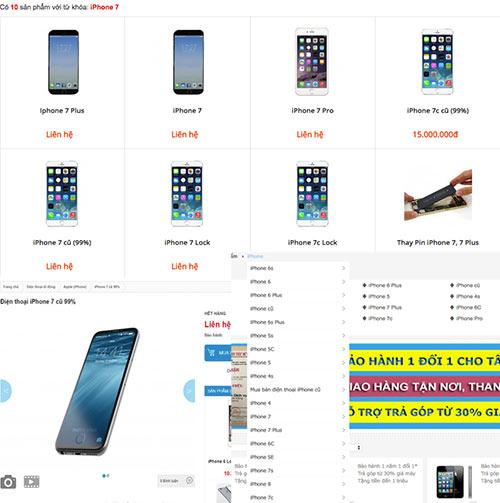 Chưa ra mắt, nhưng iPhone 7 được nhiều cửa hàng niêm yết trên website bán hàng.