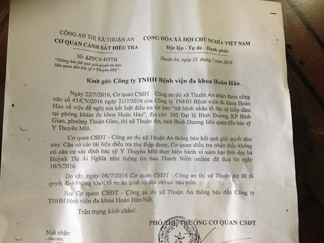 Văn bản trả lời vụ việc của Công an thị xã Thuận An