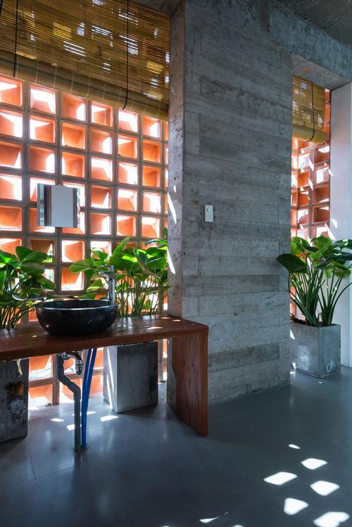 Công trình có nhiều cây xanh ở hiên nhà, hành lang, vườn trên sân thượng.