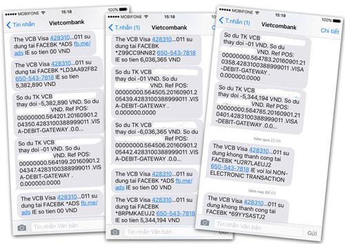 Các tin nhắn thông báo bị trừ tiền trong điện thoại của chị Hạnh