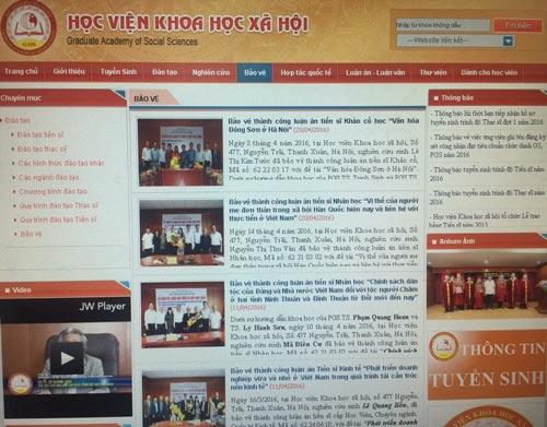 Trang web của học viện liên tục cập nhật thông tin trao bằng tiến sĩ