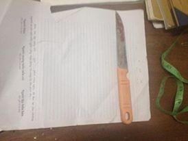 Con dao T. dùng đâm chết bạn. Ảnh B.N