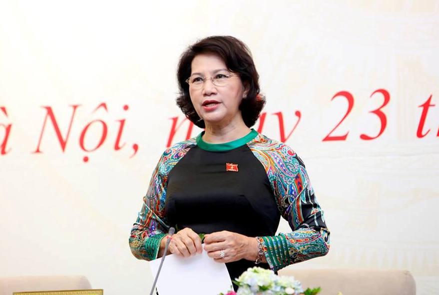 Chủ tịch QH Nguyễn Thị Kim Ngân tại cuộc gặp mặt báo chí ngày 23-7 với một trong rất nhiều tấm áo dài đẹp của bà - Ảnh: Bảo Trân