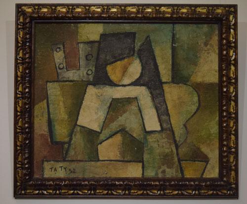 """Bức """"Trừu tượng"""" trong bộ sưu tập """"Những bức tranh trở về từ châu Âu"""" ký tên họa sĩ Tạ Tỵ"""