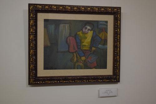"""Bức """"Thằng hề"""" của họa sĩ Bùi Xuân Phái có trong bộ sưu tập 17 bức tranh trong triển lãm """"Những bức tranh trở về từ châu Âu"""" được xác định là tranh giả của ông Vũ Xuân Chung"""