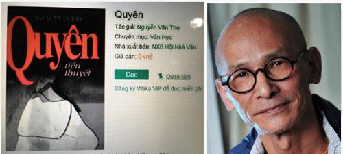 """Nhà văn Nguyễn Văn Thọ bất bình khi tiểu thuyết """"Quyên"""" được bán với giá 0 đồng Ảnh: Trần Nhương"""