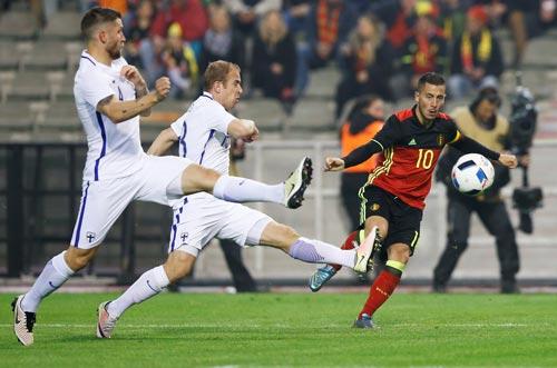 Sau VCK World Cup 2014 đáng quên, Hazard (10) quyết tâm đưa Bỉ tiến xa trên đất Pháp Ảnh: REUTERS