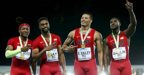Đội tuyển tiếp sức nam của Mỹ có đến 2 người vướng doping là Tyson Gay và Gatlin Ảnh: USA TODAY