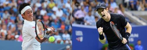 """Không chỉ """"lì lợm"""", Nishikori (trái) phải giao bóng thật tốt mới có thể vượt qua được Murray đang có phong độ cực cao Ảnh: REUTERS"""