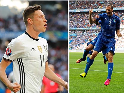 Draxler (trái) - mối đe dọa trên hàng công tuyển Đức đối với trung vệ Chiellini của tuyển Ý Ảnh: REUTERS