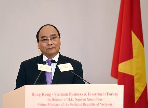 Thủ tướng Nguyễn Xuân Phúc phát biểu tại Diễn đàn Kinh doanh và Đầu tư Hồng Kông - Việt Nam Ảnh: VGP