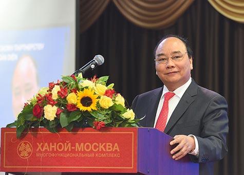 Thủ tướng Nguyễn Xuân Phúc phát biểu tại Diễn đàn Doanh nghiệp Việt - Nga Ảnh: VGP