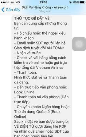Một số hình ảnh chụp giao dịch với facebook rao vé giả - Ảnh: Vietnam Airlines cung cấp