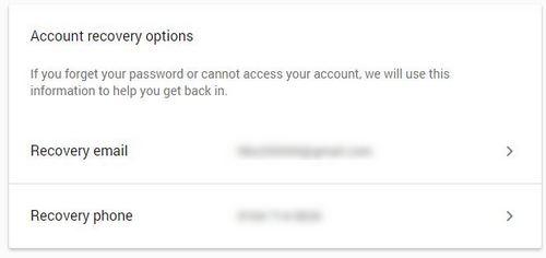 Thao tác thêm tùy chọn khôi phục cho tài khoản Google. Kích hoạt xác thực 2 bước