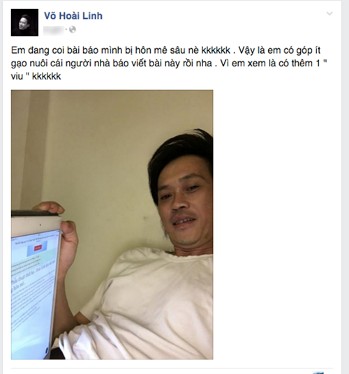 Hoài Linh đăng tải bức ảnh chụp mình đang xem bài viết cho rằng anh hôn mê sâu