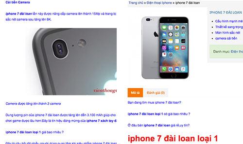 Điện thoại nhái iPhone 7 cũng đã xuất hiện, được rao bán với giá rẻ.