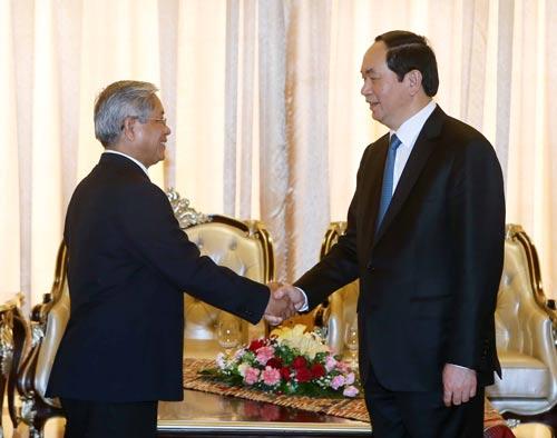 Chủ tịch nước Trần Đại Quang tiếp Tổng Thư ký Hội Hữu nghị Lào - Việt Saykhong Sayasin Ảnh: TTXVN