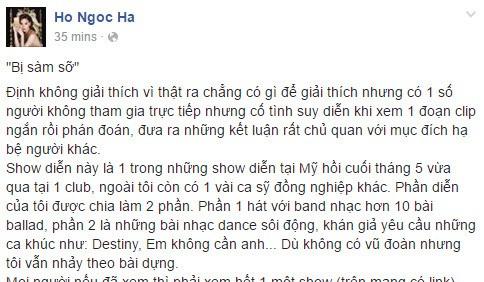 Hồ Ngọc Hà lên tiếng trên Facebook