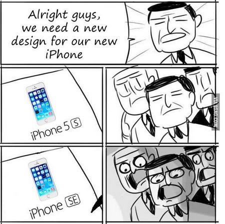 Một hình ảnh châm biếm về sự ra đời của iPhone SE: Apple chỉ việc thêm vào chữ E sau chữ S của iPhone 5S để tạo ra một phiên bản iPhone mới