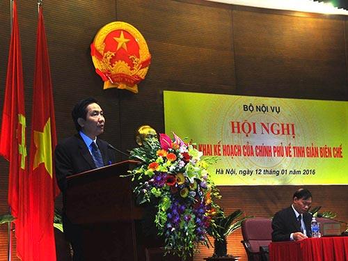 Thứ trưởng Bộ Nội vụ Trần Anh Tuấn phát biểu tại hội nghị Triển khai kế hoạch của Chính phủ về tinh giản biên chế vào ngày 12-1