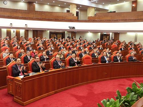 Lãnh đạo Đảng, nhà nước và các đại biểu tham dự lễ bế mạc Hội nghị lần thứ 14 Ban Chấp hành Trung ương Đảng khóa XI Ảnh: TTXVN