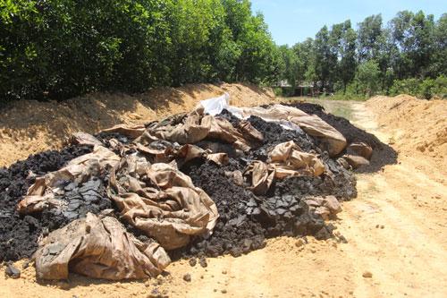 Hàng trăm tấn chất thải được phát hiện trong trang trại của ông Lê Quang Hòa. Ảnh: Xuân Sinh