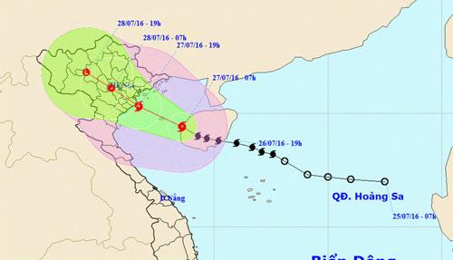 Đường đi của tâm bão số 1 vào vịnh Bắc Bộ. (Ảnh: Trung tâm Dự báo Khí tượng Thủy văn trung ương)