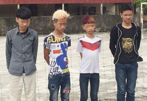 4 thiếu niên đã gây ra 5 vụ ném đá vào ô tô đang chạy trên đường cao tốc Hà Nội - Hải Phòng vào tối ngày 13-5 vừa qua - Ảnh do công an cung cấp