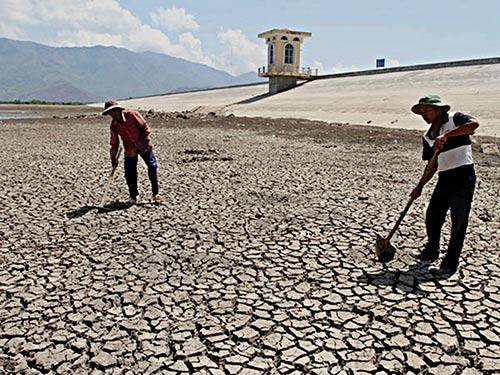 Nhiều hồ chứa nước ở Ninh Thuận trơ đáy Ảnh: LÊ TRƯỜNG