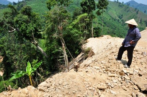 Nhiều vạt rừng phòng hộ ở Quảng Ngãi bị san bằng để làm thủy điện Đắk Re Ảnh: TỬ TRỰC