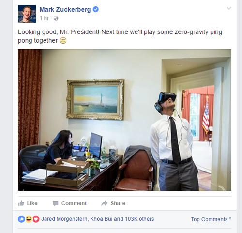 Bức ảnh ông Obama dùng kính thực tế ảo Gear VR tạo sự thích thú với CEO Facebook.