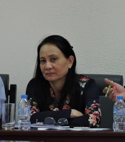 Bà Lê Thị Công tại một buổi làm việc với tư cách là Giám đốc Sở TN-MT tỉnh Bà Rịa - Vũng Tàu. Ảnh: BÍCH NGỌC
