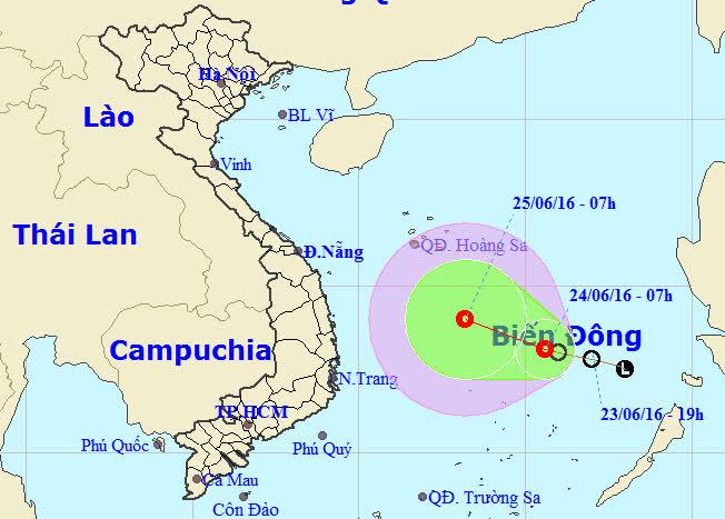 Vị trí và dự báo đường đi của áp thấp nhiệt đới-ảnh: Trung tâm dự báo khí tượng thủy văn Trung ương