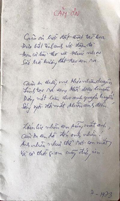 """Bài thơ """"Cảm ơn"""" với bút tích của nhà thơ Xuân Diệu được xác nhận và công bố bởi Tạp chí Văn nghệ Quân đội. (Ảnh do Tạp chí văn nghệ Quân đội cung cấp)"""