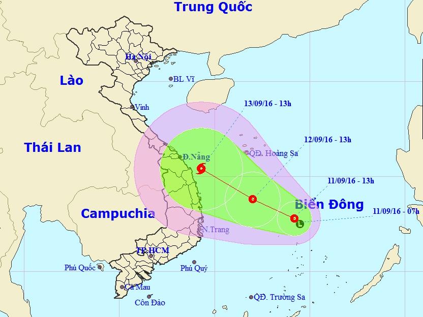 Vị trí và dự báo đường đi của áp thấp nhiệt đới - Nguồn: Trung tâm dự báo khí tượng thủy văn Trung ương