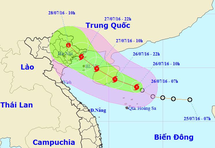 Vị trí và dự báo đường đi của cơn bão số 1. Nguồn: Trung tâm dự báo khí tượng Thuỷ văn Trung ương