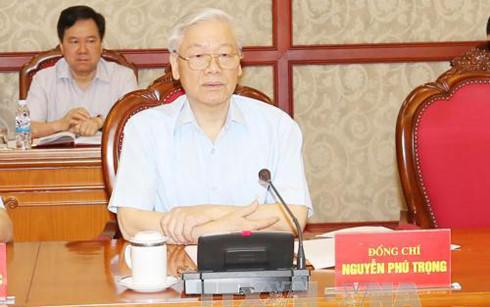 Tổng Bí thư Nguyễn Phú Trọng phát biểu kết thúc Hội nghị - Ảnh: TTXVN