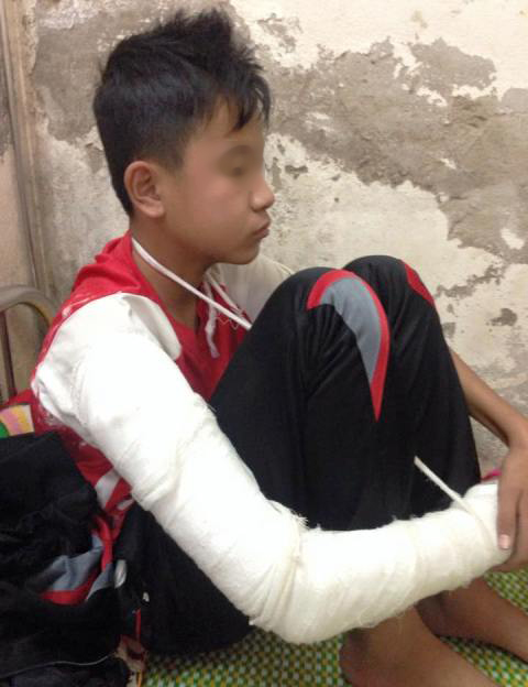 Hình ảnh em Đỗ Lân Anh khi điều trị ở Bệnh viên Đa khoa huyện Yên Định - Thanh Hóa