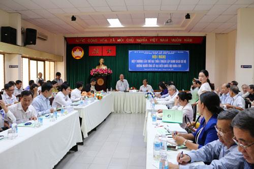 Hội nghị hiệp thương lần hai thỏa thuận lập danh sách sơ bộ những người ứng cử ĐBQH khóa XIV tổ chức tại TP HCM ngày 17-3 Ảnh: BẠCH ĐẰNG