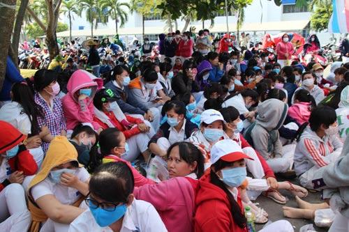 Công nhân Công ty TNHH Nissey (KCX Tân Thuận, TP HCM) ngừng việc vào ngày 19-2