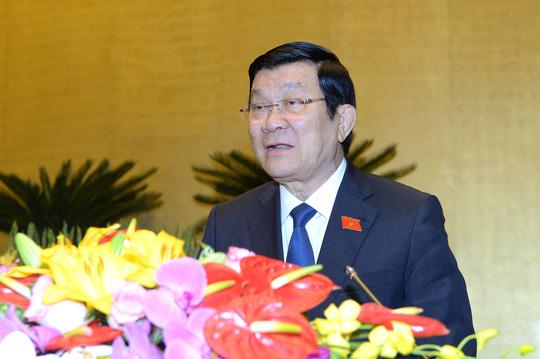 Chủ tịch nước Trường Tấn Sang báo cáo tại QH sáng 22-3-ảnh: Nguyễn Nam.