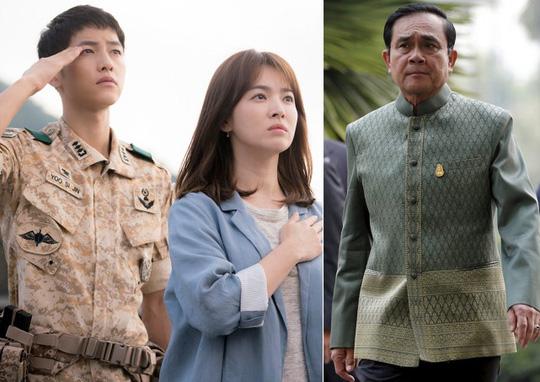 Cảnh trong phim Hậu duệ mặt trời (trái) và Thủ tướng Thái Lan Prayut Chan-o-cha. Ảnh: StarHub, Reuters