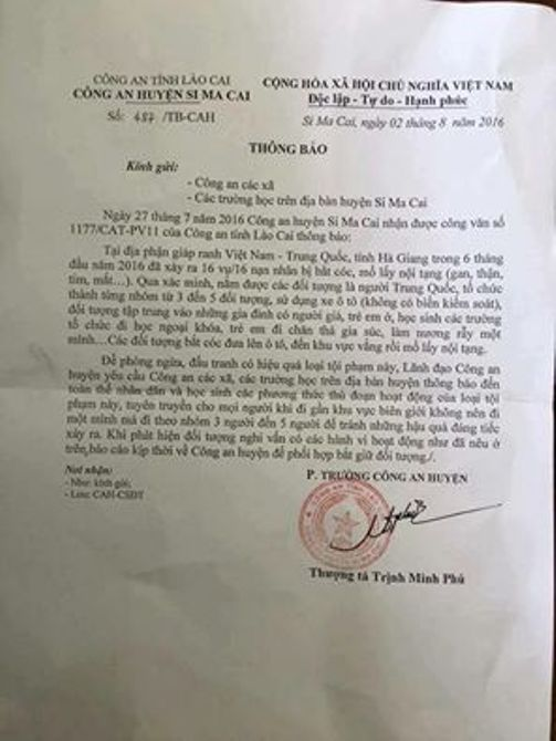 Công văn của Công an huyện Si Ma Cai (Lào Cai) gửi công an xã và các trường trên địa bàn huyện