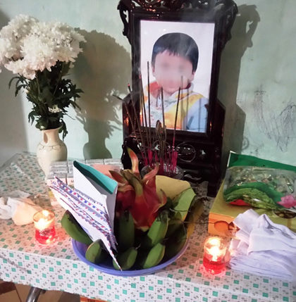 Di ảnh cháu Nguyễn Mạnh H. 4 tuổi